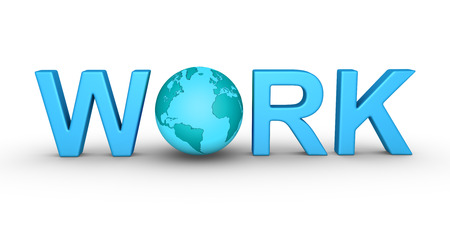 seeking assistance: WORK letters and the globe is in between Stock Photo