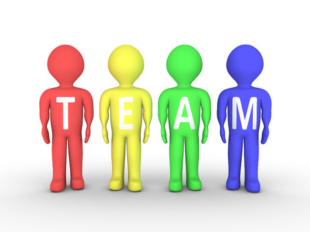 four person: People are painted with different color and form the word TEAM Stock Photo