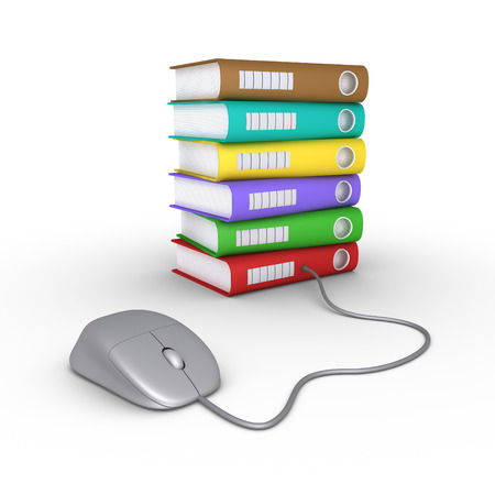 archive site: Computer mouse is connected to different colored folders
