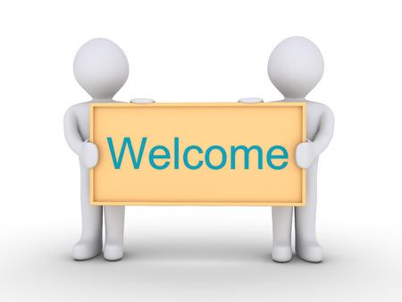 the welcome: Dos personas est�n llevando a cabo una junta con la palabra de bienvenida en �l