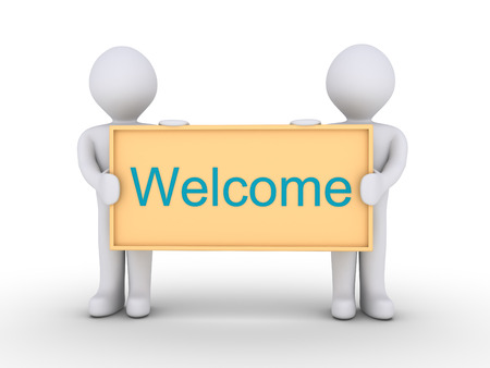 welcome to: Two people are holding a board with the Welcome word on it