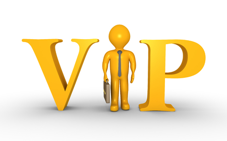 replacing: Businessman is standing between VIP letters and is replacing the letter I