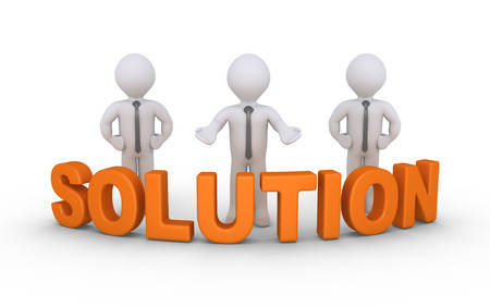 behind: Businessmen are standing behind a Solution word