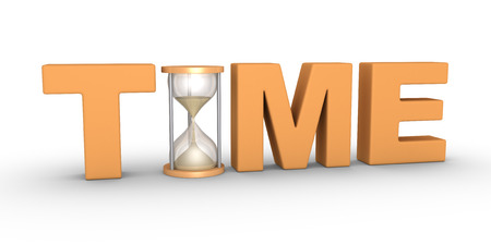 replacing: TIME word with an hourglass included in the letters