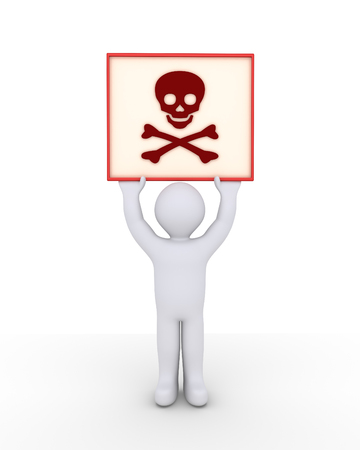 death head holding: Person is holding high a sign with a skull and bones symbol on it