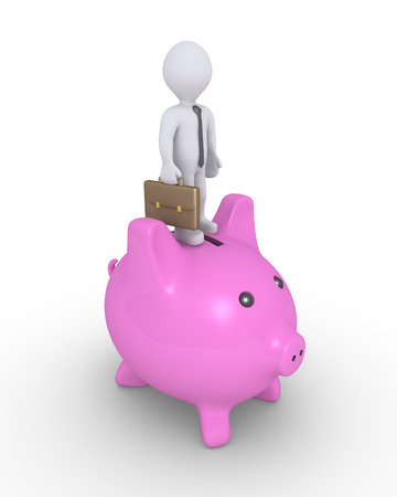 money box: Businessman is standing on top of a pig money box