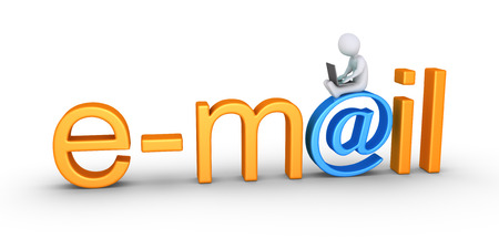 emails: Person using a laptop is sitting on top of an e-mail word Stock Photo