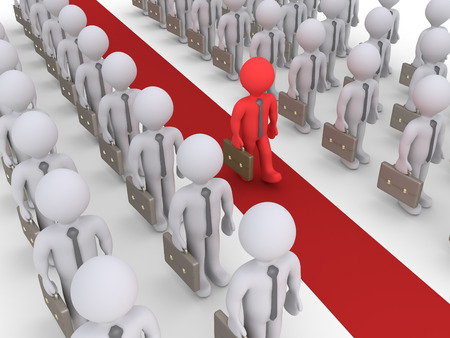 walking path: Businessmen are standing in rows but one is walking on a red path
