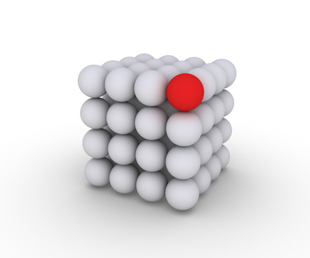 one color: Cube made of spheres and one is of different color