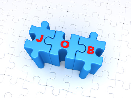 seeking assistance: JOB word on three connected puzzle pieces and many puzzle pieces are on the ground Stock Photo