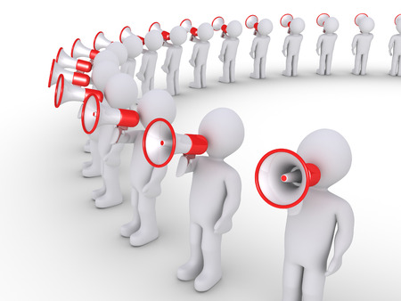 provide information: People are in a big circle and speaking through megaphones