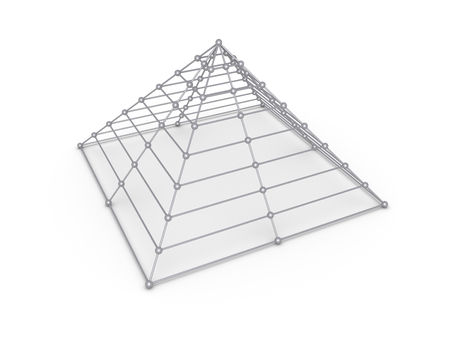 complete solution: Pyramid construction made of spheres and cylinders Stock Photo