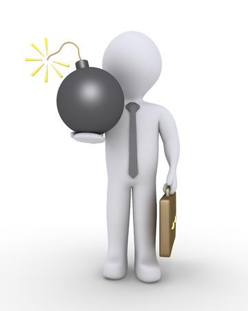 lit: Businessman is holding a lit bomb