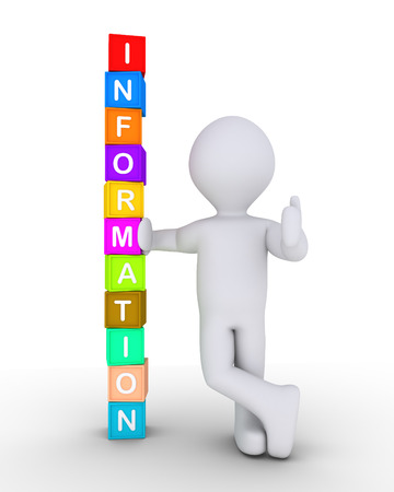 word: Person is leaning on stacked cubes forming the word Information Stock Photo