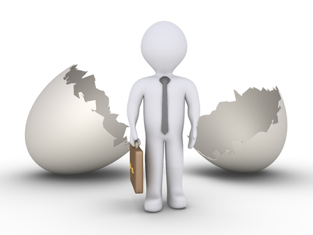 cracked egg: Businessman is standing in front of an empty cracked egg Stock Photo
