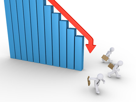 avoid: Businessmen are running to avoid the falling arrow of a graphic chart