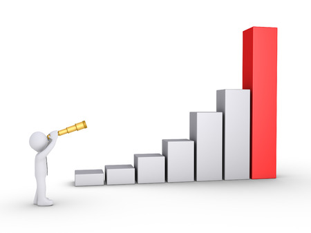 upward graph: Businessman is looking through a telescope at a rising graphic chart