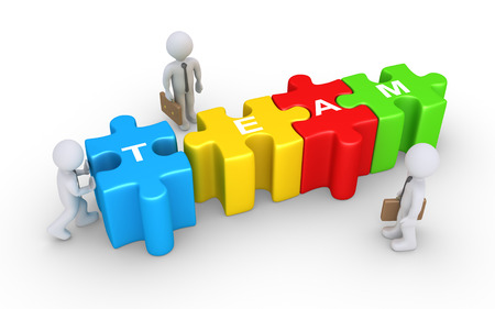 complete solution: Businessman is pushing the last puzzle piece to complete the word TEAM and two others are watching