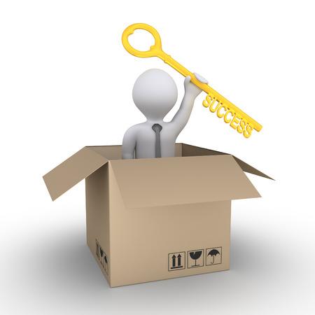 key box: Businessman inside a carton box is holding a key of success