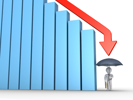 downwards: Graphic chart of columns and arrow is going downwards and businessman is protected by umbrella