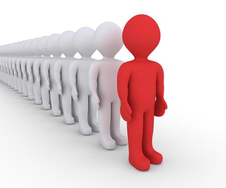 fila de personas: Muchas personas en una fila, pero uno es de color diferente Foto de archivo