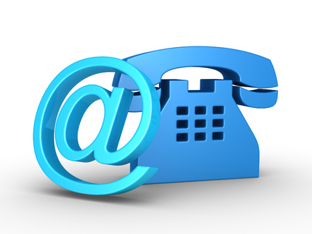 telecommunication: Telephone symbol and an e-mail symbol leaning on it