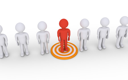 multiple targets: People in a row and one that stands out is on a target Stock Photo