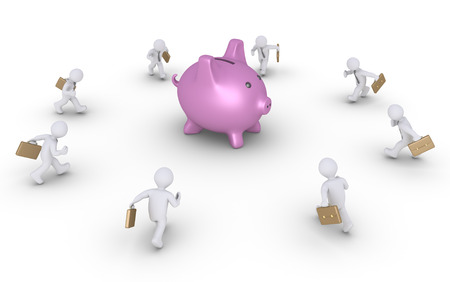 money box: Businessmen are running to a pig money box at the center