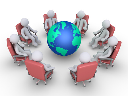 3d circle: Businessmen are sitting in a circle around the globe Stock Photo
