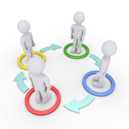 four people: Four people inside circles are connected with arrows on the ground Stock Photo