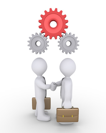 one people: Two businessmen shake hands and connected cogwheels work together above their heads Stock Photo