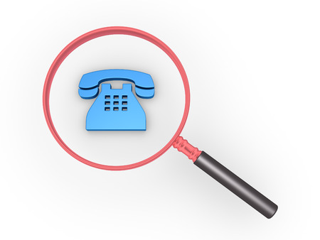 seeking assistance: Magnifier is over a telephone symbol Stock Photo