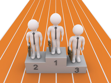 3d businessmen are standing at the winners podium on a running track