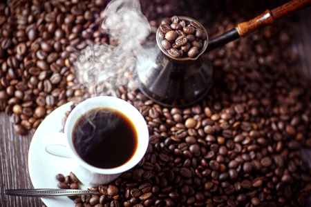 Coffee. Turkish coffee. Armenian Turkish coffee. Cezve and cup of coffee. Traditional serving coffee. Stock Photo