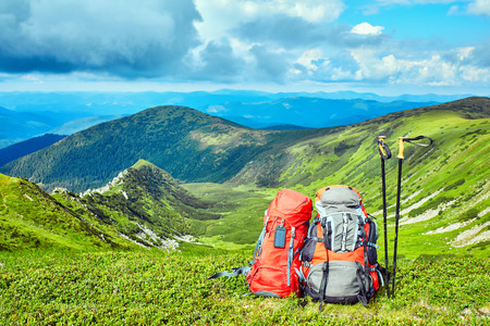 Hiking, the concept of an active lifestyle.
