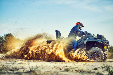 Cross-country quad bike race, extreme sports Imagens
