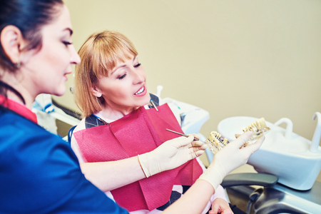 Female dentist showing   patients artificial jaw at the dental office