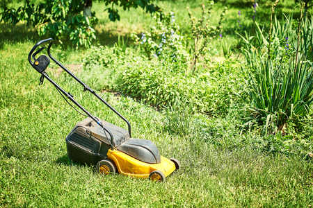 lawn mower on lawn with cut grass part.