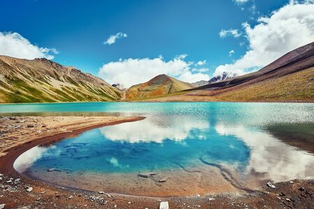 Traveling in the mountains, mountain landscapes, outdoor activities, mountain tourism. Stock Photo
