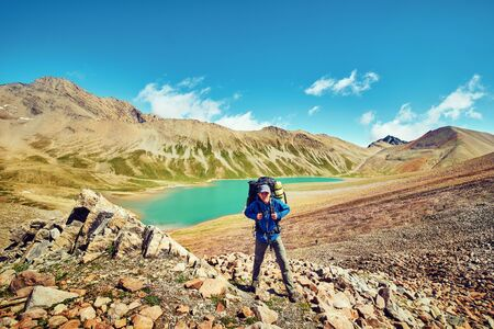 Traveling in the mountains, mountain landscapes, outdoor activities, mountain tourism. 写真素材