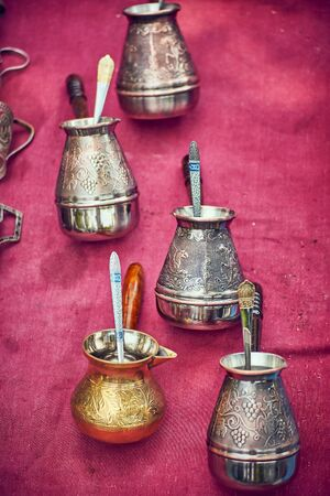 collection of antique turk for making coffee Stok Fotoğraf