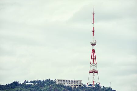 Tall and big Tbilisi TV tower on the top of Mount Mtatsminda