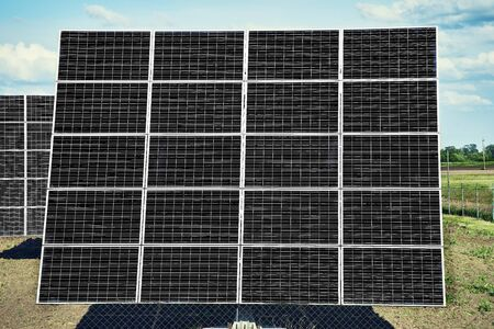 Solar station. Solar panels for the production of natural solar energy along the road.