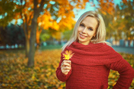 Outdoor fashion photo of young beautiful lady surrounded autumn leaves Standard-Bild - 155794981