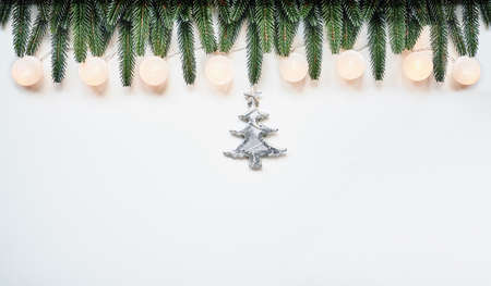 Christmas and New Year holiday top view border design banner background Standard-Bild - 157940318