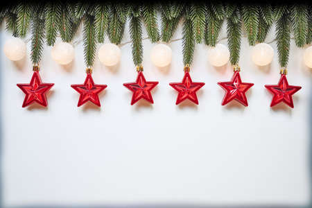 Christmas and New Year holiday top view border design banner background Standard-Bild - 157889037