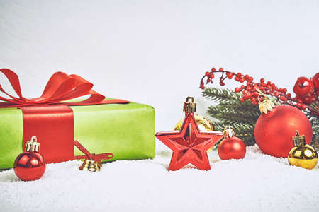 Christmas and New Year holiday top view border design banner background