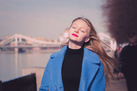 blondy: Blondy girl with bright pink lips