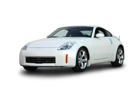 nissan: White Japanese Sports Car Front Editorial