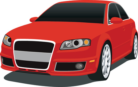 sedan: Red New German Sedan Illustration